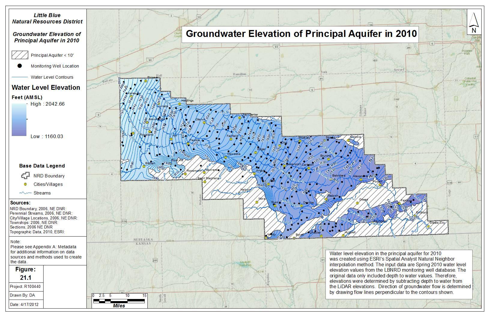 Hydrogeologic Study - Us average groundwater level map