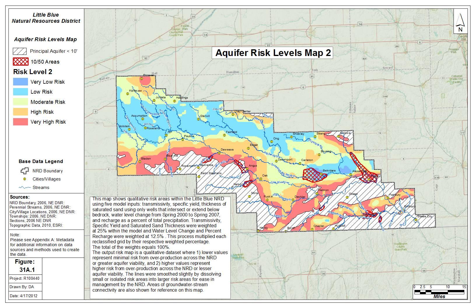 Bedrock Surface Elevation Aquifer Risk Levels Map 2